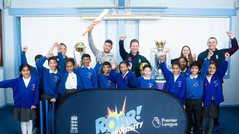 Oxlade-Chamberlain and Morgan surprised pupils at  Lawrence Community Primary School in Liverpool