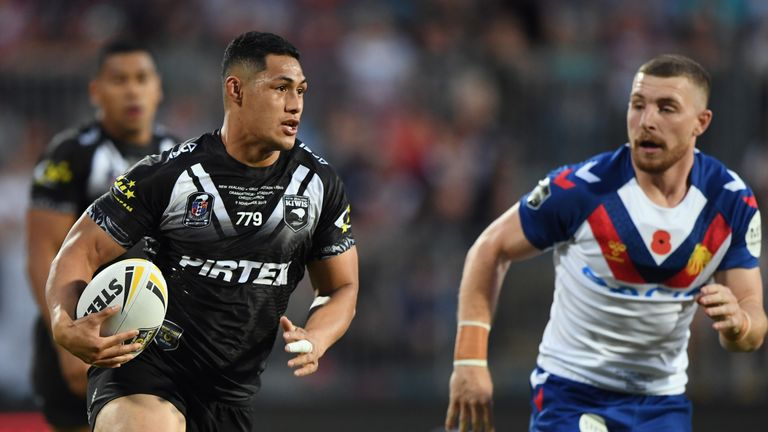 Roger Tuivasa-Sheck charges forward for the kiwis