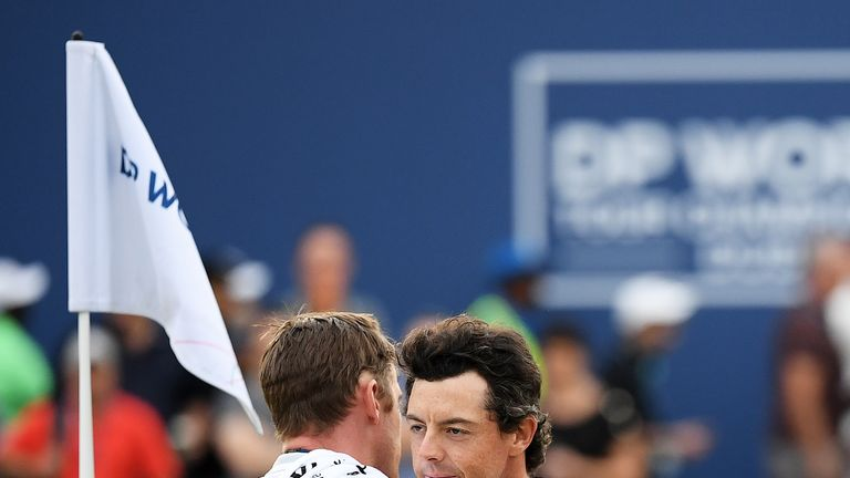 Former Ulster fly-half Niall O'Connor is McIlroy's caddie this week