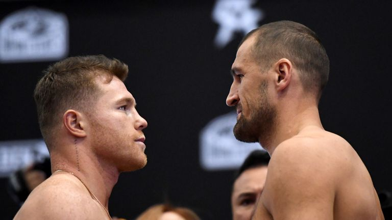 Saul 'Canelo' Alvarez and Sergey Kovalev face off during the weigh-in
