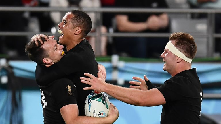 Ben Smith (far left) scored twice on his return as the All Blacks were too slick for Wales in Tokyo