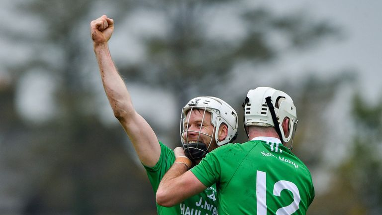 The joy of victory! Jack and Marty Kavanagh of St Mullins celebrate their shock win over Cuala