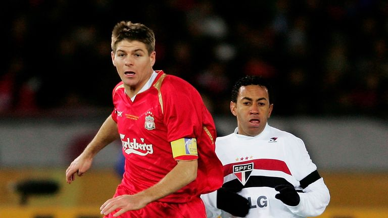 Steven Gerrard featured during Liverpool's 1-0 defeat to Sao Paulo in 2005