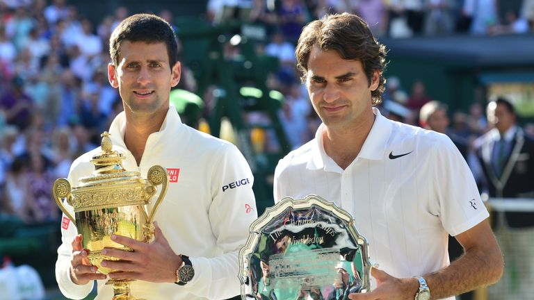 The 2014 Wimbledon final was the 12th meeting at a Grand Slam between Djokovic and Federer