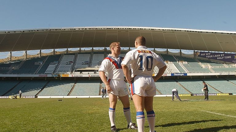 Terry O'Connor and Barrie McDermott on tour with Great Britain at Aussie Stadium in 2002