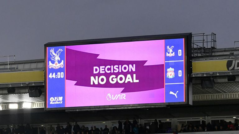 Confirmation at Selhurst Park that Tomkins's 'goal' has been disallowed
