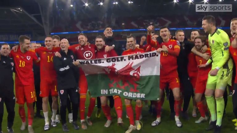 Gareth Bale celebrated Euro 2020 qualification in 2019 with his team-mates by singing and parading a Wales flag which reads: 'Wales. Golf. Madrid. In that order'
