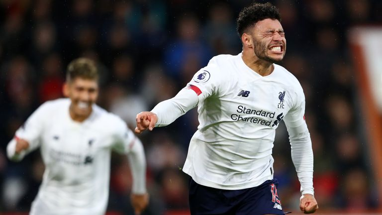 Alex Oxlade-Chamberlain celebrates after giving Liverpool the lead at Vitality Stadium