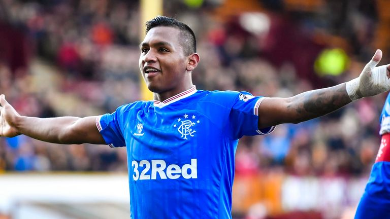 Morelos celebrates his goal to make it 2-0 against Motherwell