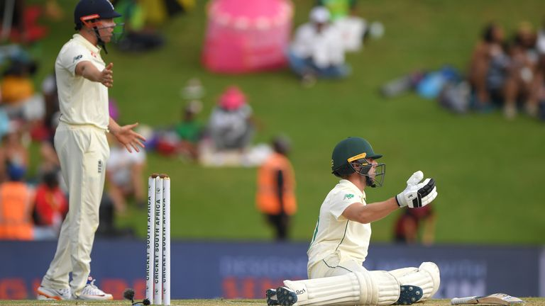 Anrich Nortje is felled by one of Jofra Archer's back-to-back full tosses that he bowled at him late on day two