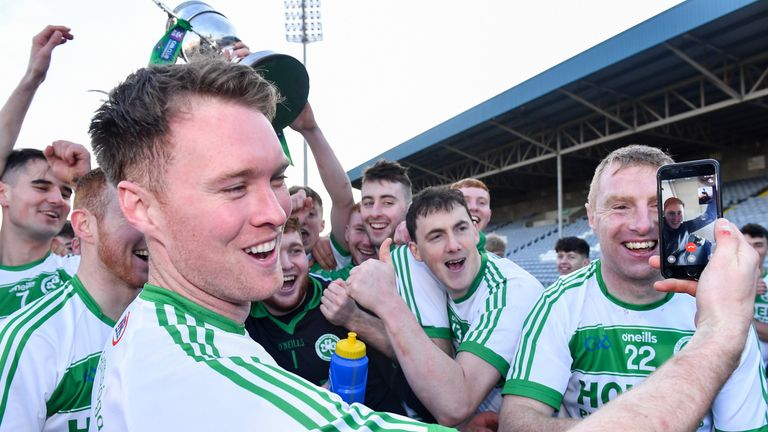 Ballyhale Shamrocks player Richie Reid, who is currently in the Lebanon on peacekeeping duty with the Irish Army, was video-called during the celebrations
