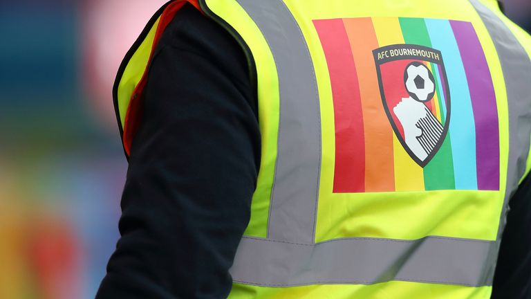 Bournemouth stewards wore rainbow flags on their jackets for the game against Liverpool