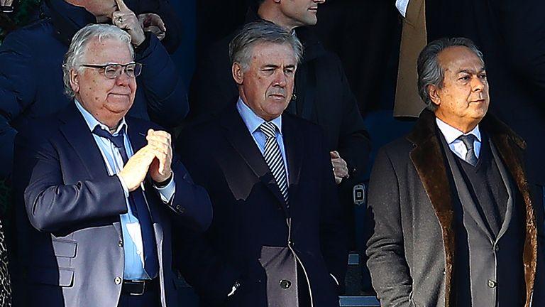Ancelotti pictured with chairman Bill Kenwright and owner Farhad Moshiri