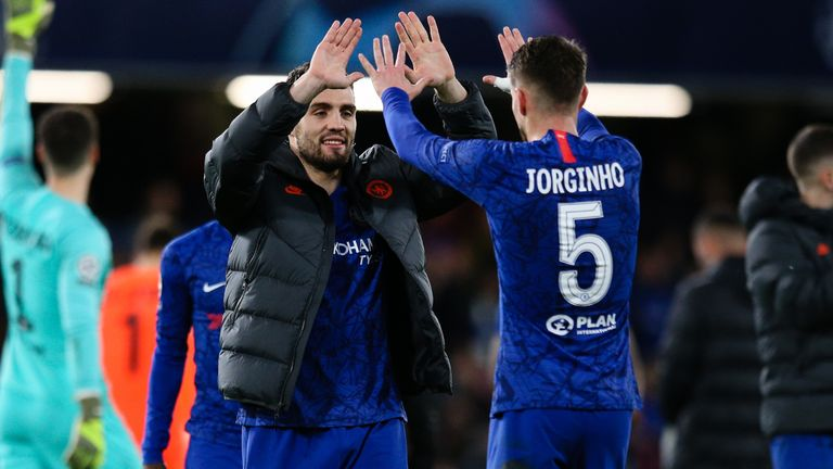 Jorginho and Mateo Kovacic pictured after the final whistle