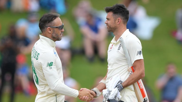 South Africa captain Faf du Plessis shakes James Anderson's hand after England's 107-run defeat at Centurion