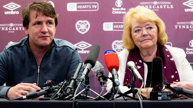 Stendel plans to speak to Hearts owner Ann Budge, right, in the coming days about his future