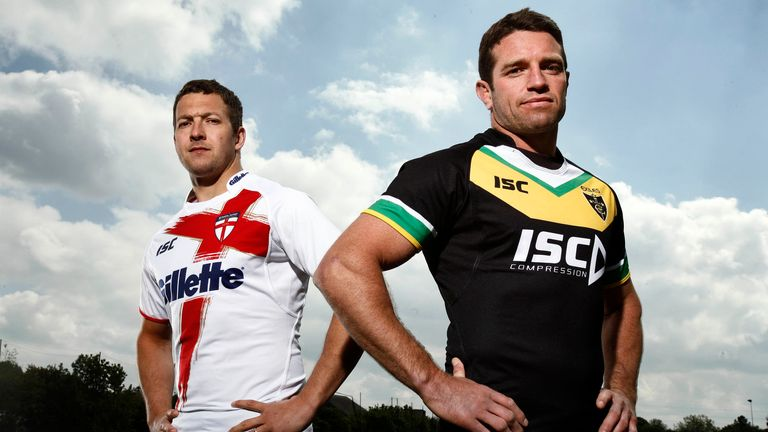 England's Danny McGuire and Exiles captain Danny Buderus ahead of the 2011 clash
