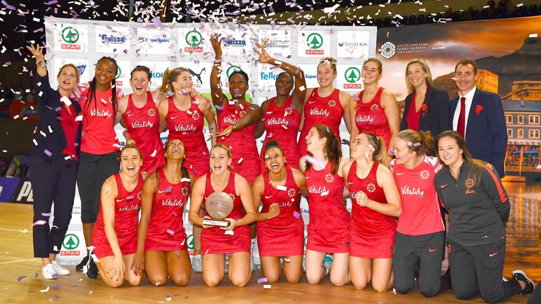 The Roses celebrating on court in Cape Town at the end of the series