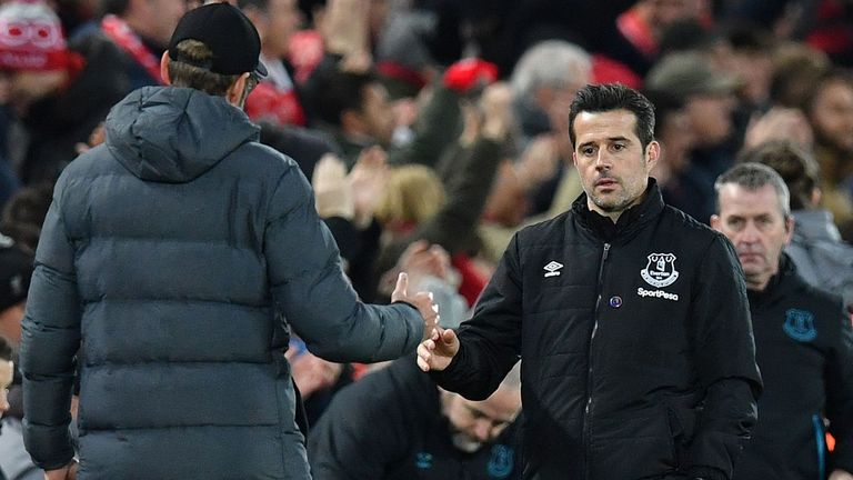 Marco Silva shakes hands with Jurgen Klopp after the full-time whistle