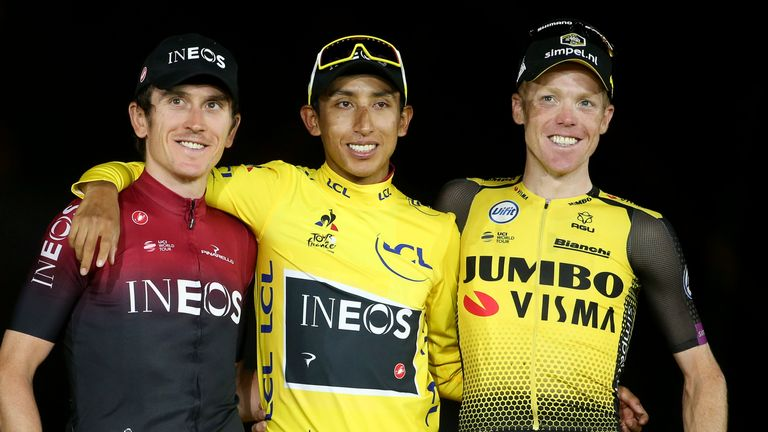 Geraint Thomas (L) of Team Ineos, came second in the 2019 Tour de France behind team-mate Egan Bernal (C)