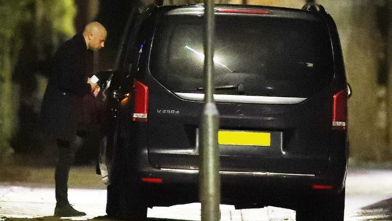 Arsenal's lawyer Huss Fahmy is also pictured leaving Arteta's house