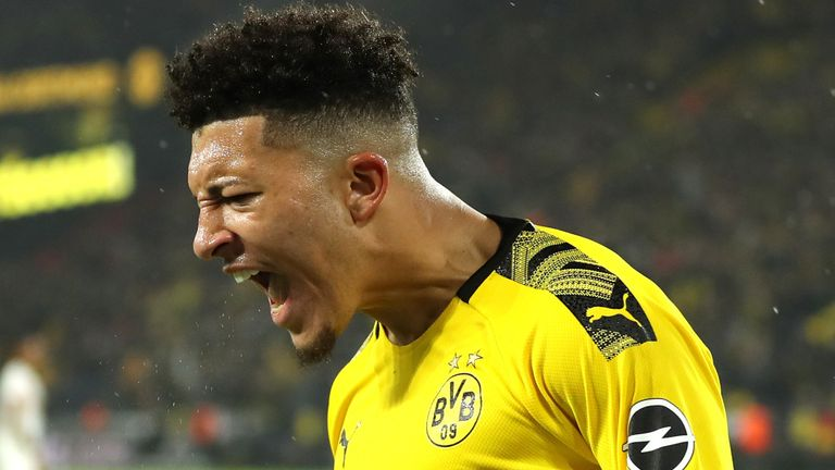 Sancho after scoring against Dortmund's Bundesliga rivals RB Leipzig
