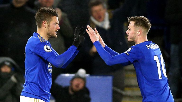 Jamie Vardy is looking to score in a seventh league match in a row