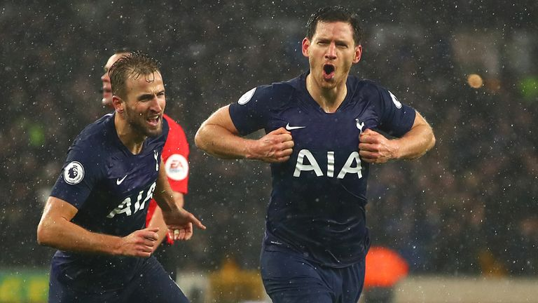 Jan Vertonghen celebrates Spurs' winner against Wolves