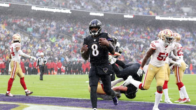Jackson's one-yard score gave Baltimore a first-half lead