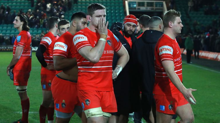 Leicester players look dejected following last Saturday's derby defeat to Northampton