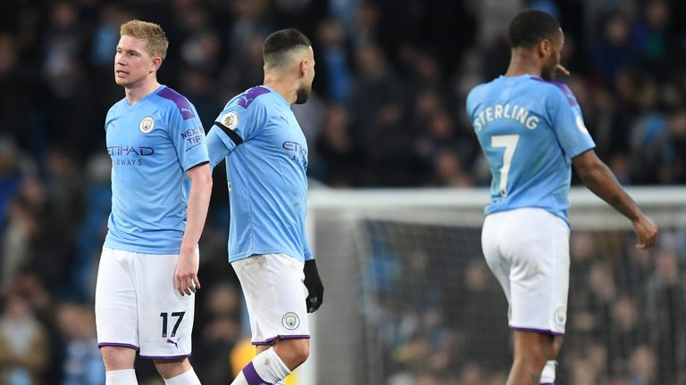 Kevin De Bruyne and his City teammates were left dejected after losing the Manchester derby
