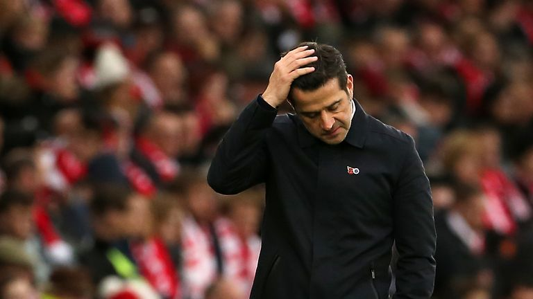 Marco Silva goes into the derby under serious pressure with Everton 17th in the Premier League and just two points above the drop zone