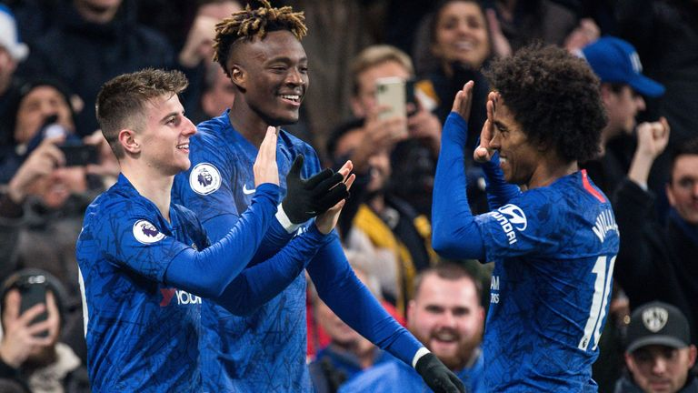 Mason Mount celebrates with Tammy Abraham and Willian after his winner