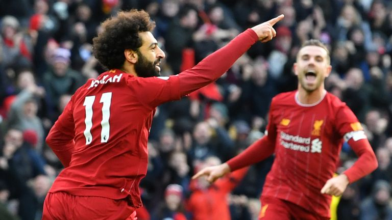 Mohamed Salah celebrates his opener at Anfield