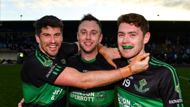 Barry O'Driscoll, Paul Kerrigan and Ciaran Dalton of Nemo Rangers celebrate at full-time