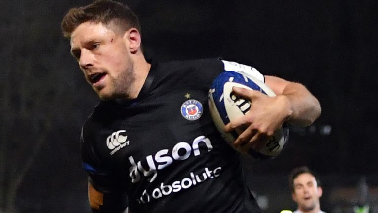 Rhys Priestland crossed for Bath's first try in over three hours