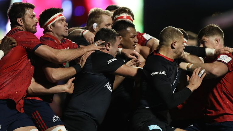 Tempers flared between Saracens and Munster players