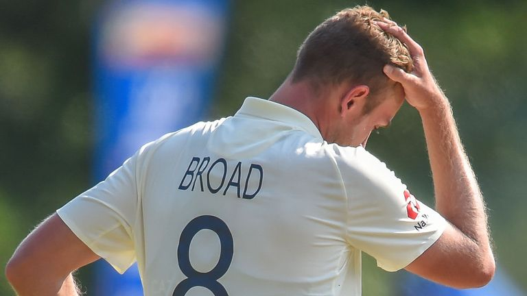England seamer Stuart Broad cannot hide his frustration on day one of the first Test against South Africa