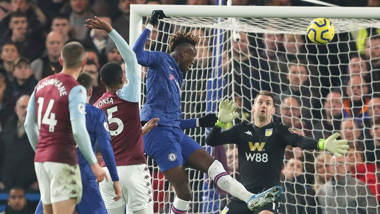Tammy Abraham rises to head Chelsea in front after 24 minutes