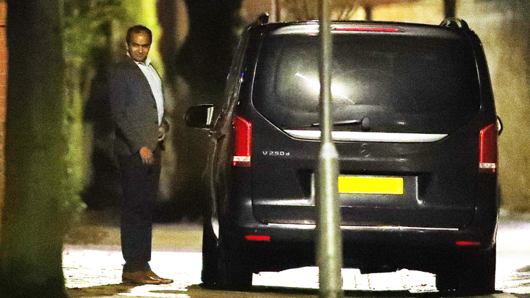 Arsenal chief executive Vinai Venkatesham leaving Mikel Arteta's Manchester home in the early hours of Monday morning
