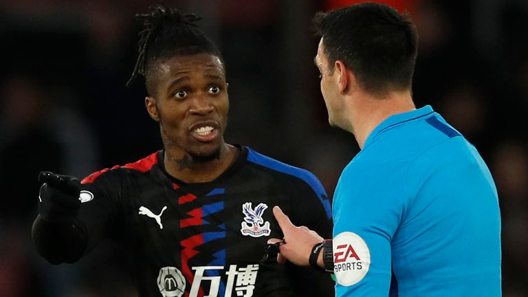 Zaha has just three yellow cards in 28 games for Crystal Palace this season