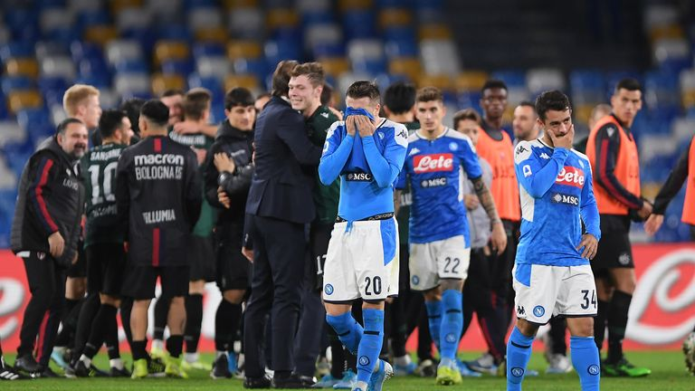 Napoli players suffered more disappointment in defeat against Bologna on Sunday