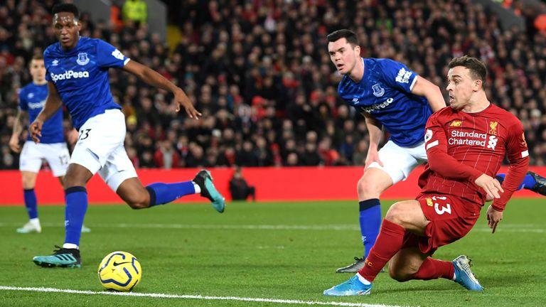 Shaqiri doubles Liverpool's lead against Everton