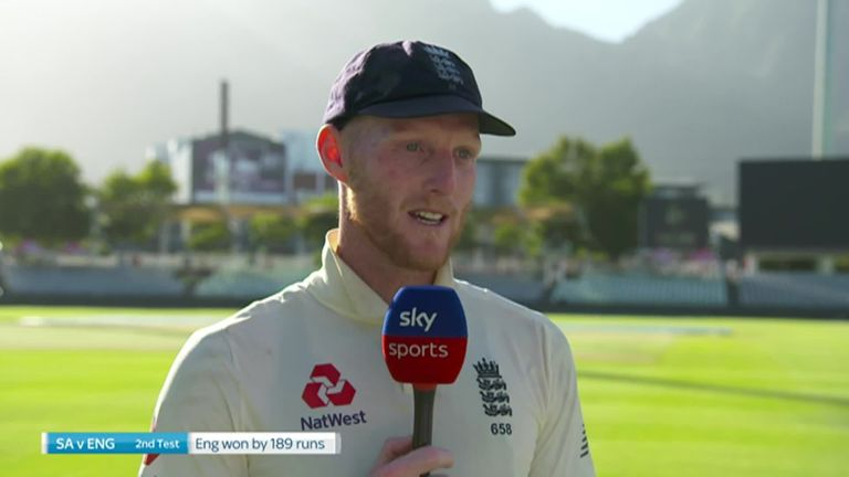 Ben Stokes speaks to Ian Ward after his all round performance helped England to win the second Test at Newlands