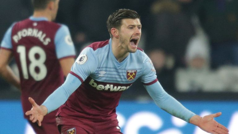 West Ham defender Aaron Creswell reacts after being sent off against Bournemouth