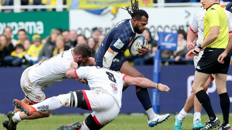 Clermont's Alivereti Raka is tackled by Sean Reidy and Marcell Coetzee of Ulster