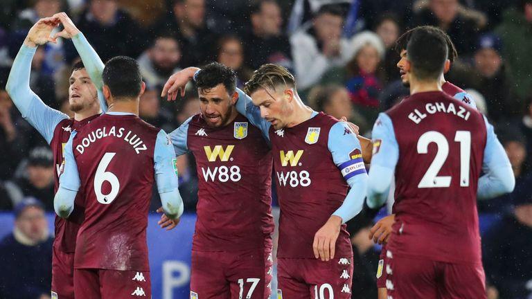 Aston Villa celebrate taking the lead at the King Power Stadium