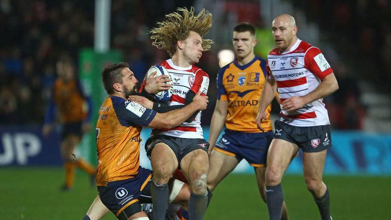 Billy Twelvetrees is tackled by Montpellier flanker Julien Bardy