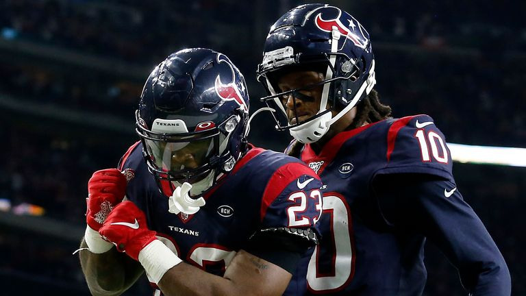Carlos Hyde and DeAndre Hopkins celebrate as the Texans took the lead in the fourth quarter