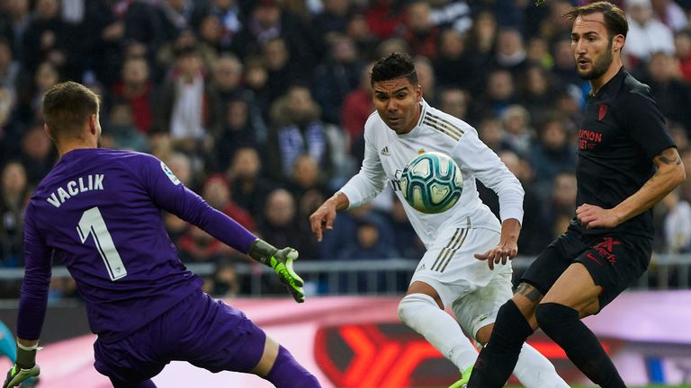 Casemiro scored both Real Madrid goals against Sevilla